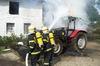 Požár kolového traktoru